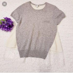 Autumn Cashmere Gray and Cream Top Medium